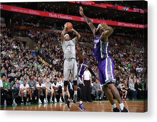 Nba Pro Basketball Acrylic Print featuring the photograph Isaiah Thomas and Demarcus Cousins by Brian Babineau