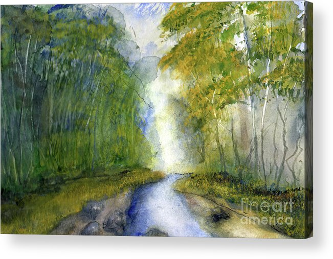 Creek Acrylic Print featuring the painting Fern Dell Creek Early This MOrning by Randy Sprout