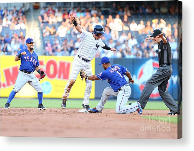 People Acrylic Print featuring the photograph Jacoby Ellsbury and Elvis Andrus by Mike Stobe