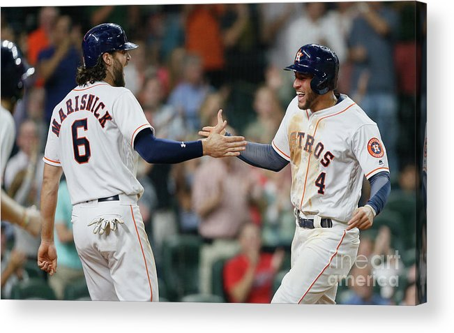 American League Baseball Acrylic Print featuring the photograph Jake Marisnick and George Springer by Bob Levey