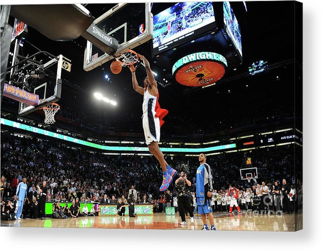 Nba Pro Basketball Acrylic Print featuring the photograph Jameer Nelson and Dwight Howard by Noah Graham