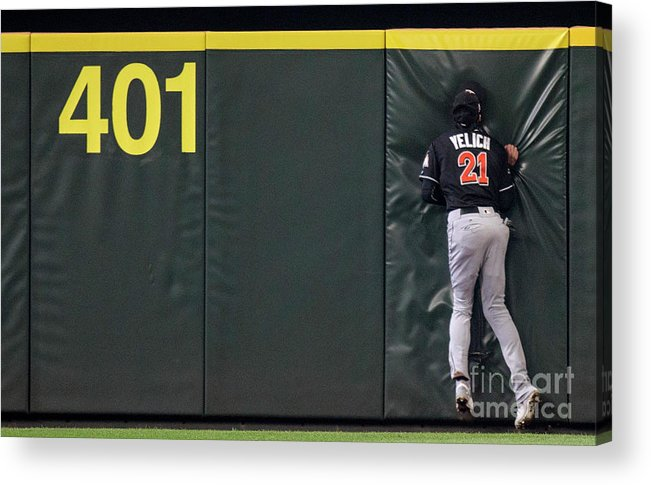 People Acrylic Print featuring the photograph Jarrod Dyson and Christian Yelich by Stephen Brashear