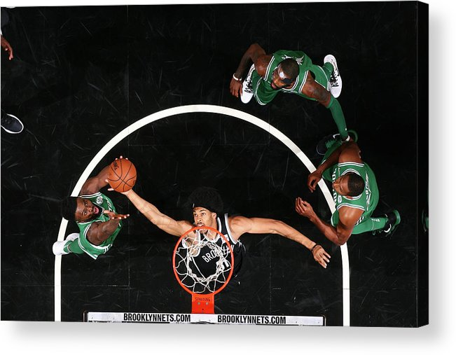 Nba Pro Basketball Acrylic Print featuring the photograph Jaylen Brown and Jarrett Allen by Nathaniel S. Butler