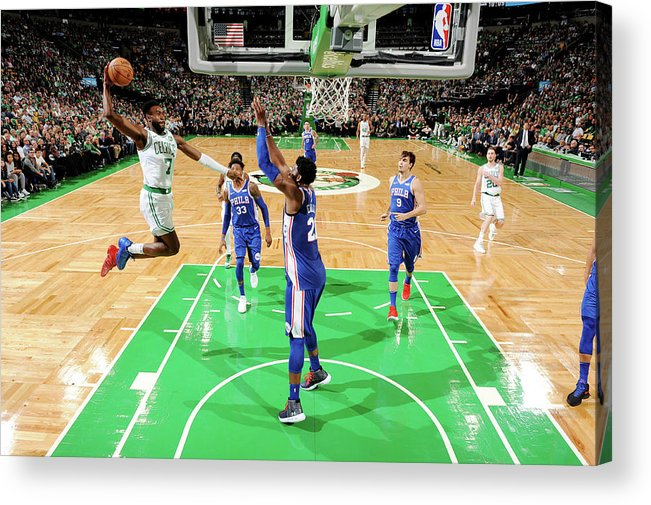 Nba Pro Basketball Acrylic Print featuring the photograph Jaylen Brown and Joel Embiid by Brian Babineau