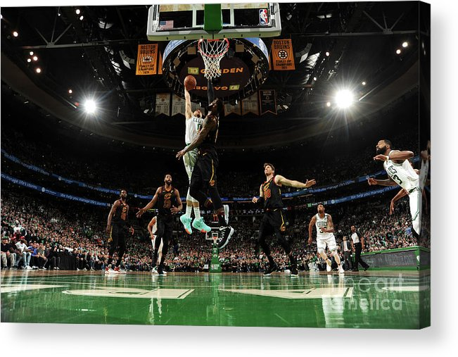 Playoffs Acrylic Print featuring the photograph Jayson Tatum and Lebron James by Brian Babineau