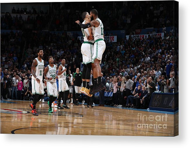 Nba Pro Basketball Acrylic Print featuring the photograph Jayson Tatum and Marcus Morris by Zach Beeker
