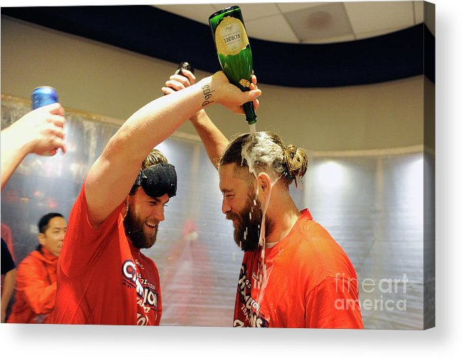 Championship Acrylic Print featuring the photograph Jayson Werth and Bryce Harper by Greg Fiume