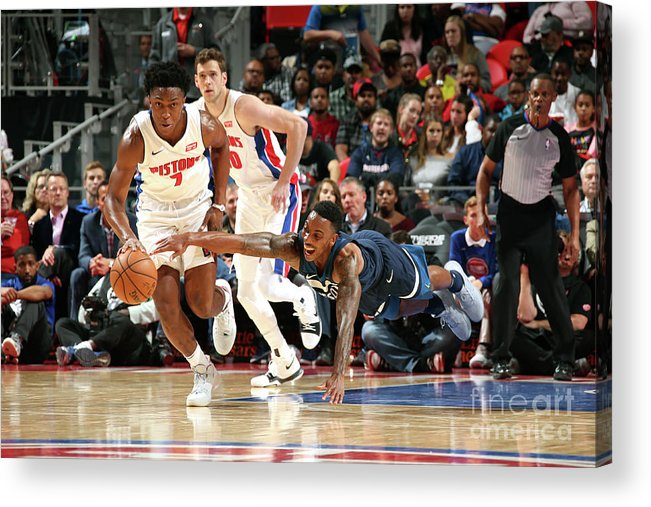 Nba Pro Basketball Acrylic Print featuring the photograph Jeff Teague and Stanley Johnson by Brian Sevald