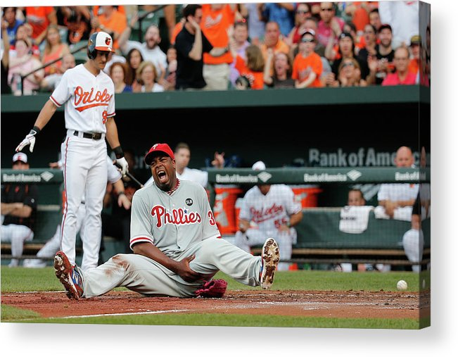 People Acrylic Print featuring the photograph Jerome Williams and Ryan Flaherty by Rob Carr