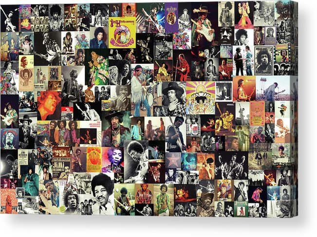 Jimi Hendrix Acrylic Print featuring the digital art Jimi Hendrix Collage by Zapista OU