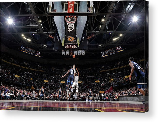 Nba Pro Basketball Acrylic Print featuring the photograph Jimmy Butler and Lebron James by David Liam Kyle