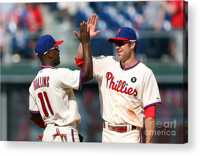 Citizens Bank Park Acrylic Print featuring the photograph Jimmy Rollins and Chase Utley by Hunter Martin