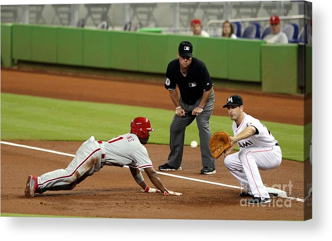 American League Baseball Acrylic Print featuring the photograph Jimmy Rollins and Nick Green by Marc Serota