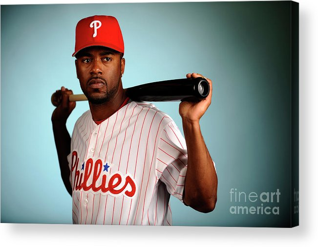 Media Day Acrylic Print featuring the photograph Jimmy Rollins by Robert Laberge