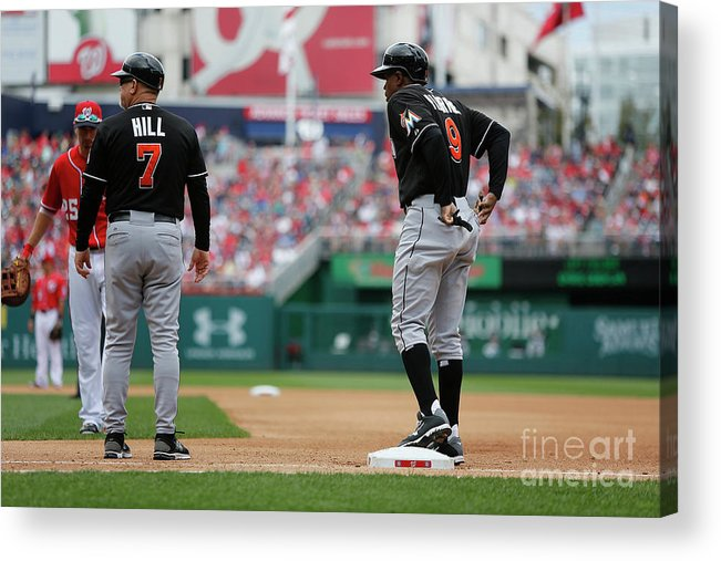 American League Baseball Acrylic Print featuring the photograph Joe Dimaggio and Juan Pierre by Jonathan Ernst