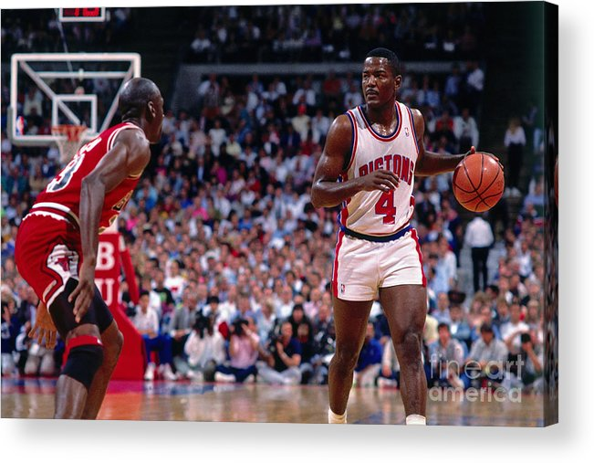 Nba Pro Basketball Acrylic Print featuring the photograph Joe Dumars and Michael Jordan by Andrew D. Bernstein