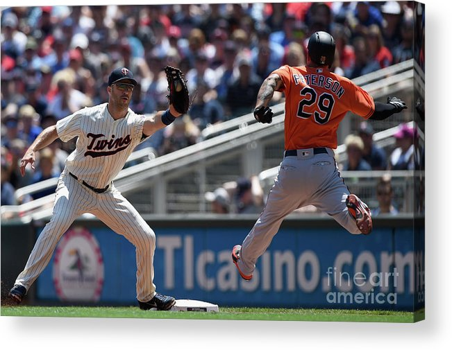 Second Inning Acrylic Print featuring the photograph Joe Mauer and Jace Peterson by Hannah Foslien