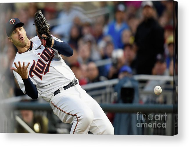 Three Quarter Length Acrylic Print featuring the photograph Joe Mauer and Robinson Chirinos by Hannah Foslien