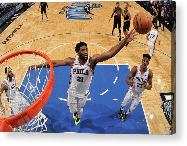 Nba Pro Basketball Acrylic Print featuring the photograph Joel Embiid by Fernando Medina