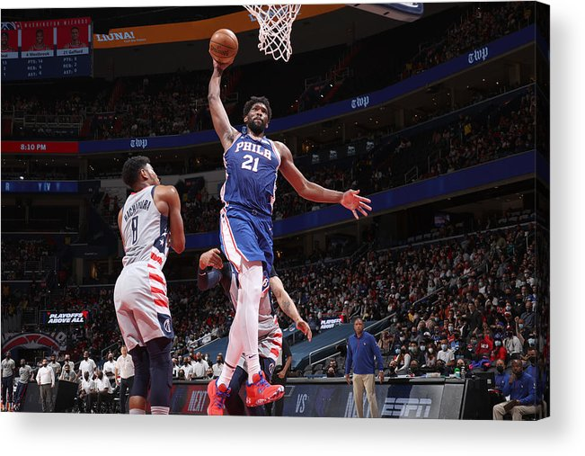 Playoffs Acrylic Print featuring the photograph Joel Embiid by Stephen Gosling