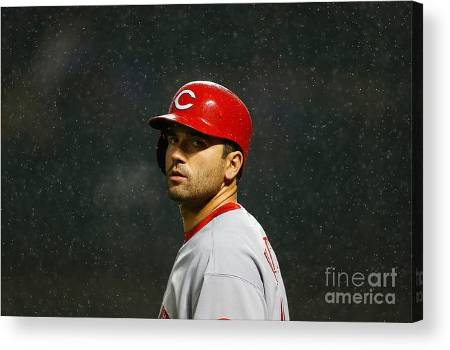 American League Baseball Acrylic Print featuring the photograph Joey Votto by Mike Stobe