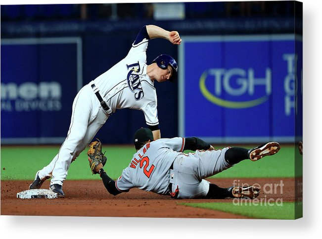 Joey Wendle Acrylic Print featuring the photograph Joey Wendle and Jonathan Villar by Mike Ehrmann