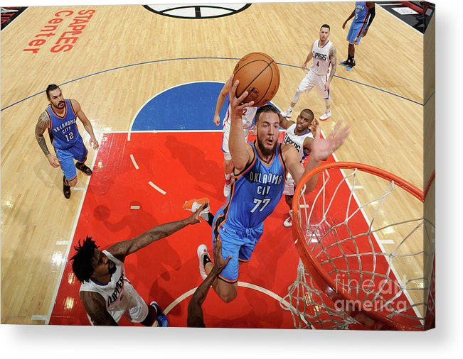 Nba Pro Basketball Acrylic Print featuring the photograph Joffrey Lauvergne by Juan Ocampo