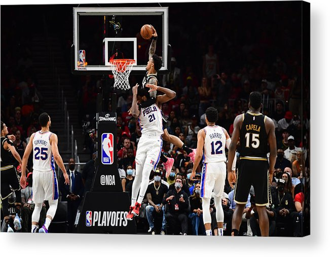 Atlanta Acrylic Print featuring the photograph John Collins and Joel Embiid by Scott Cunningham