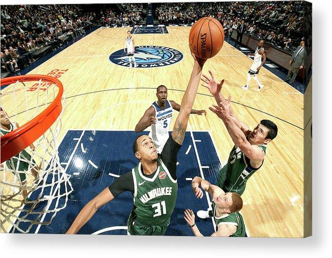 Nba Pro Basketball Acrylic Print featuring the photograph John Henson by David Sherman