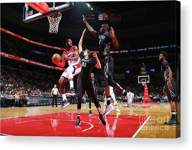 Nba Pro Basketball Acrylic Print featuring the photograph John Wall, Gorgui Dieng, and Nemanja Bjelica by Ned Dishman