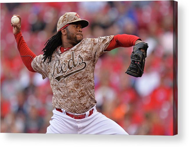 Great American Ball Park Acrylic Print featuring the photograph Johnny Cueto by Jamie Sabau