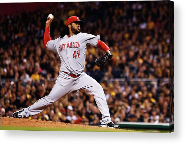 American League Baseball Acrylic Print featuring the photograph Johnny Cueto by Jared Wickerham