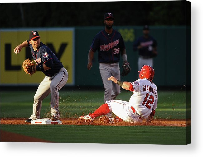 People Acrylic Print featuring the photograph Johnny Giavotella and Brian Dozier by Jonathan Moore