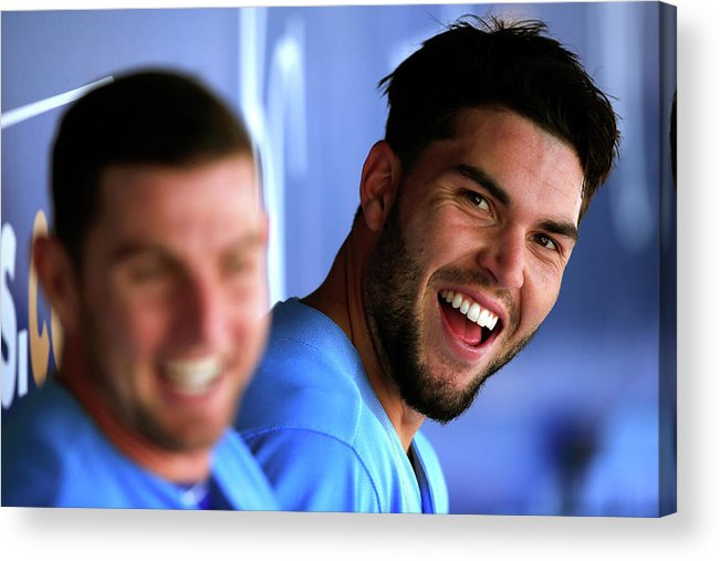 American League Baseball Acrylic Print featuring the photograph Johnny Giavotella and Eric Hosmer by Jamie Squire