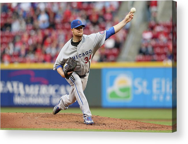 Great American Ball Park Acrylic Print featuring the photograph Jon Lester by Andy Lyons