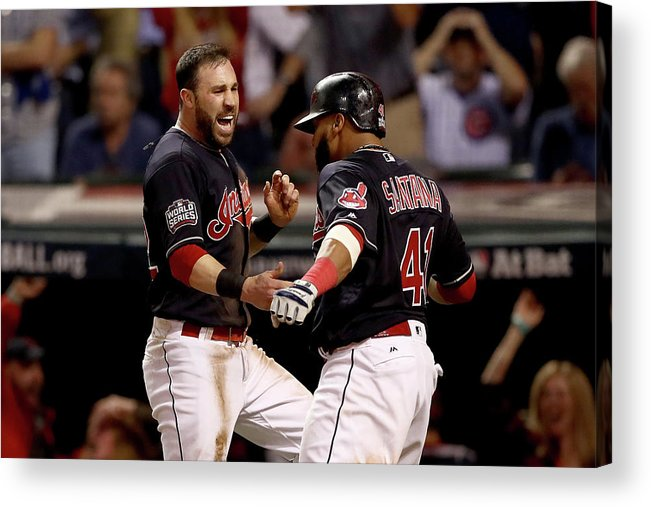 Three Quarter Length Acrylic Print featuring the photograph Jon Lester, Carlos Santana, and Jason Kipnis by Elsa