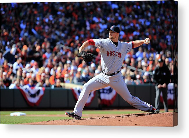 American League Baseball Acrylic Print featuring the photograph Jon Lester by Rob Carr