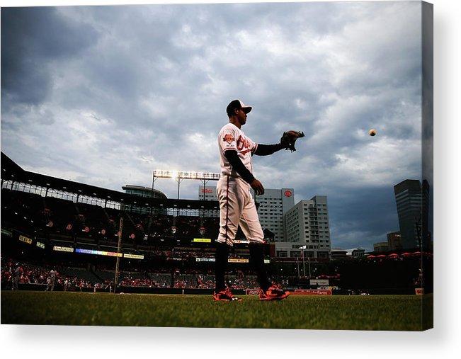 American League Baseball Acrylic Print featuring the photograph Jonathan Schoop by Rob Carr