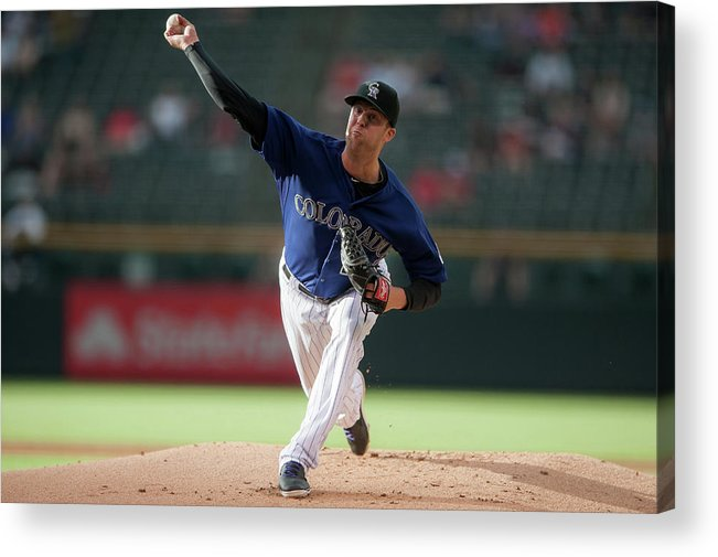 Baseball Pitcher Acrylic Print featuring the photograph Jordan Lyles by Dustin Bradford