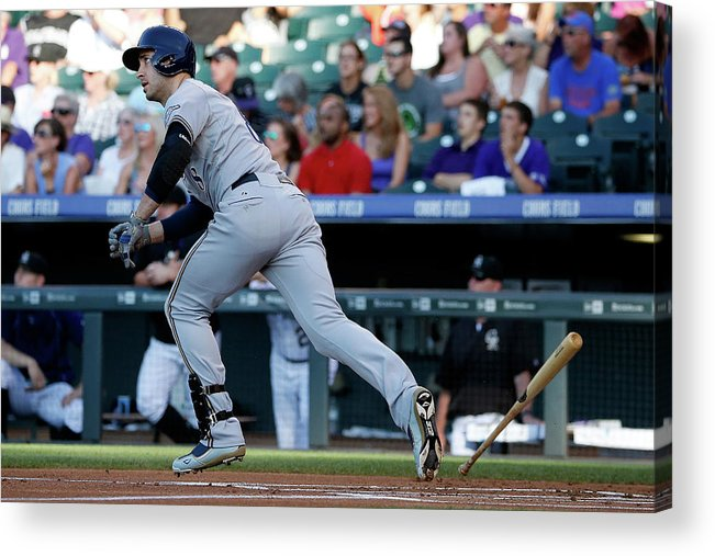 People Acrylic Print featuring the photograph Jorge De La Rosa and Ryan Braun by Doug Pensinger