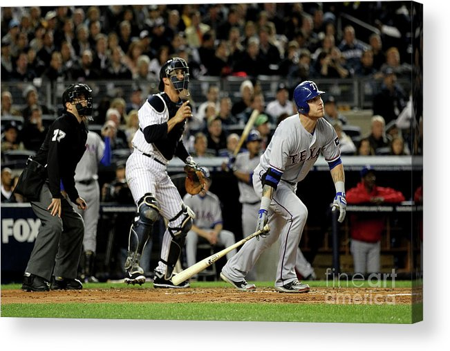 Playoffs Acrylic Print featuring the photograph Josh Hamilton and Jorge Posada by Al Bello