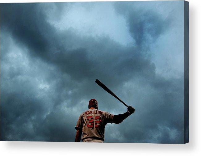 American League Baseball Acrylic Print featuring the photograph Josh Hamilton by Patrick Smith