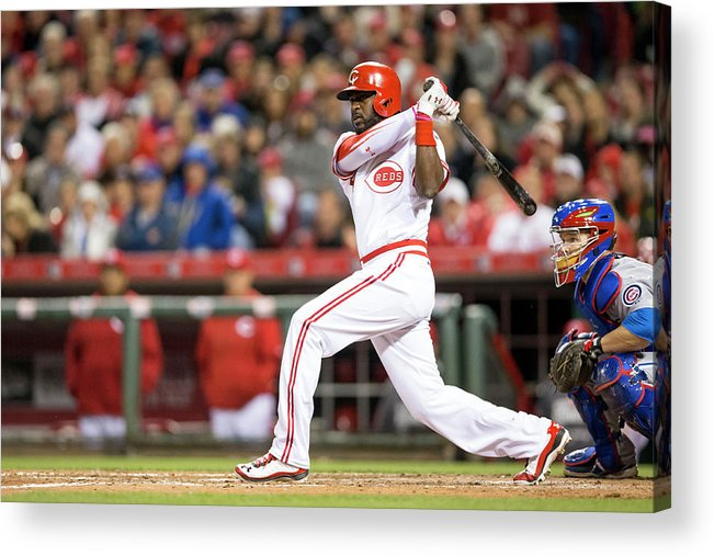 Great American Ball Park Acrylic Print featuring the photograph Josh Harrison and Brandon Phillips by Taylor Baucom