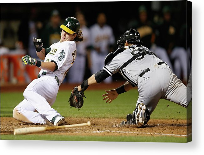 People Acrylic Print featuring the photograph Josh Reddick, Billy Butler, and Geovany Soto by Ezra Shaw