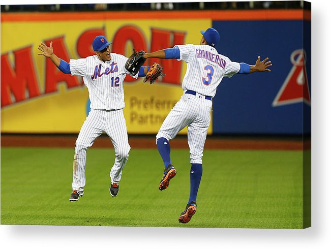 People Acrylic Print featuring the photograph Juan Lagares and Curtis Granderson by Jim Mcisaac