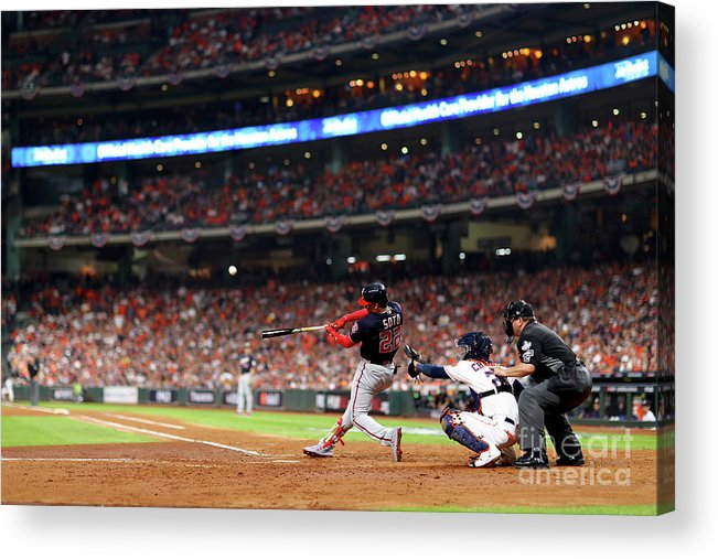American League Baseball Acrylic Print featuring the photograph Juan Soto by Mike Ehrmann