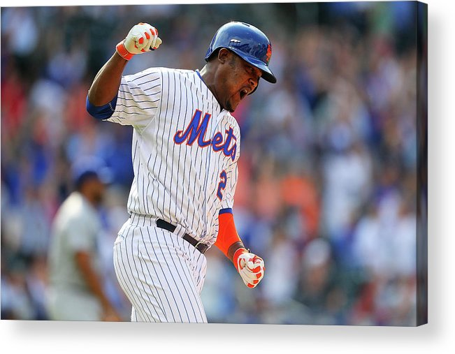 Three Quarter Length Acrylic Print featuring the photograph Juan Uribe by Mike Stobe