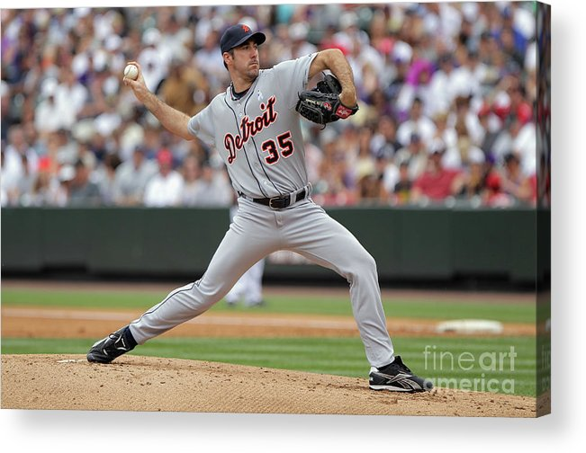 Working Acrylic Print featuring the photograph Justin Verlander by Doug Pensinger