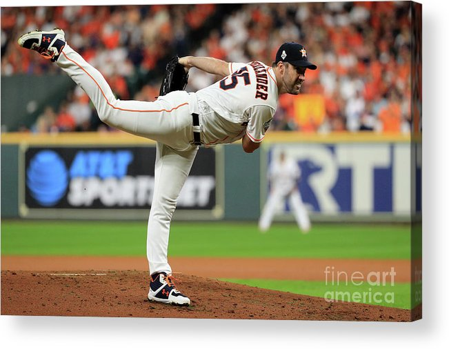 American League Baseball Acrylic Print featuring the photograph Justin Verlander by Mike Ehrmann