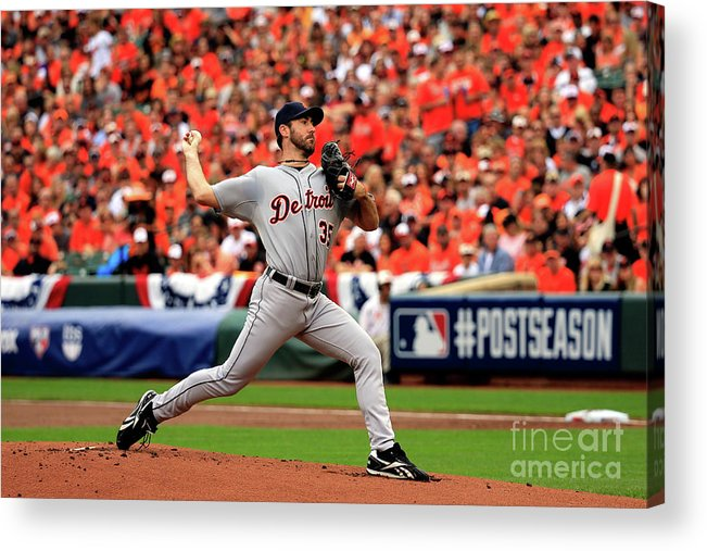 Game Two Acrylic Print featuring the photograph Justin Verlander by Rob Carr